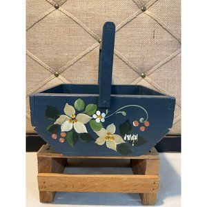Vintage Wooden Basket with Hand Painted Flowers
